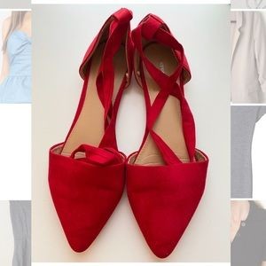 Express red tie up flats